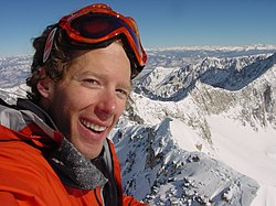 Aron Ralston, standing on Capital Peak in February 2003.