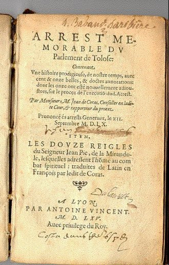 Martin Guerre - Title page of Arrest Memorable, an account of the case written by trial judge Jean de Coras in 1560 and published in 1565