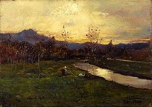 Lorenzo Delleani - Autunno dorato o Tramonto a novembre (effetti di luce), 1904 (Fondazione Cariplo)