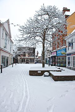 Ashford (Kent) Town Centre, High Street, February 2012 Snow.jpg