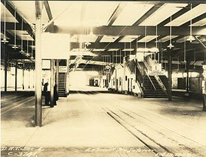 Ashmont (MBTA station) - Trolley loading platforms at the BERy's Ashmont station in 1929