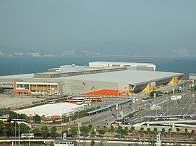 AsiaWorld-Expo, seen from the Hong Kong International Airport, 2007