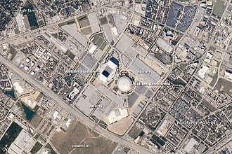 Astrodome - NRG Park area, Houston, Texas. Astrodome, with NRG Stadium at center of this 2010 astronaut photo