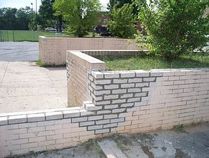 Masonry - Masonry repair work done to a brick wall.