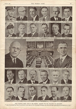 New Zealand general election, 1943 - The leaders of National and Labour, plus the 24 new MPs following the 1943 general election