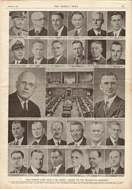 The leaders of National and Labour, plus the 24 new MPs following the 1943 general election Auckland Weekly News, 6 Oct 1943.jpg