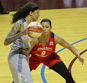 Natasha Cloud - Cloud guarding Seimone Augustus of the Minnesota Lynx during game 2 of the 2017 WNBA semifinals