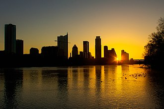 Austin, Texas - The skyline of Austin, viewed at sunrise from Zilker Park, 2013