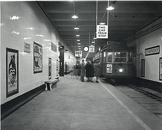 "Green Line ""E"" Branch - Symphony station shortly after its 1941 opening. The streetcar is a route 39 car bound for the Francis Street (Brigham Circle) cutback."