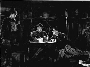 Journey's End (1930 film) - David Manners, Billy Bevan, and Colin Clive