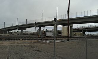 B Line (RTD) - Bridge carrying B and G lines over freight lines and South Platte River