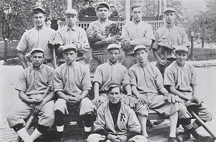 Ruth (top row, center) at St. Mary's Industrial School for Boys in Baltimore, Maryland, in 1912 Babe Ruth - St. Mary's Industrial School.JPG