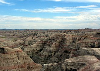 Geography of South Dakota - Various sedimentary rock strata are visible in many areas of Badlands National Park.