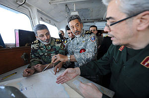 Armed Forces of the Islamic Republic of Iran - Major general Mohammad Bagheri, brigadier general Habibollah Sayyari and brigadier general Abdolrahim Mousavi reviewing plans of Velayat-90 Naval Exercise.