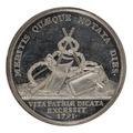 Baksida av medalj med bild av diverse redskap samt text - Skoklosters slott - 99427.tif