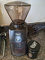 Baratza Encore burr coffee grinder and coffee beans.jpg