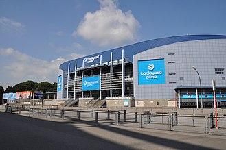 Barclaycard Arena (Hamburg) - Image: Barclaycard Arena Hamburg Aussendarstellung
