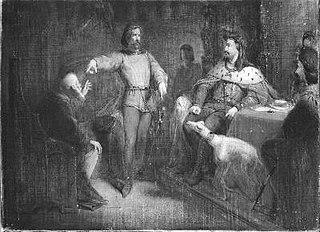Arnoud en Adolf van Gelre bepleiten hun zaak voor Karel de Stoute
