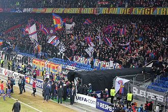 FC Basel - FC Basel supporters at a 2011–12 UEFA Champions League match against FC Bayern Munich in St.-Jakob-Park.
