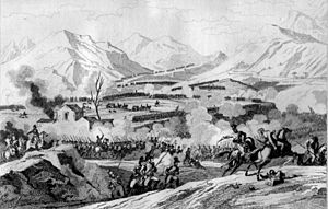 1797 in Austria - Battle of Rivoli, showing the French driving Prince Reuss' troops into the Pontare