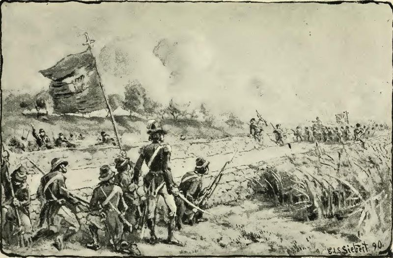 Volunteers from the combined forces of the Society of the United Irishmen and the Defenders confront British troops at the Battle of Killala in 1798, a major engagement of the Rising