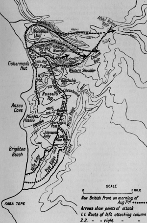 Battle of Chunuk Bair - Battle of Sari Bair, showing the British attack, 6–8 August 1915