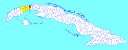Bauta municipality (red) within Artemisa Province (yellow) and Cuba