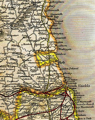 "Bedlington - The yellow region in the centre is ""Bedlingtonshire"", an exclave of the County Palatine of Durham, as shown in Betts's Family Atlas, 1846."