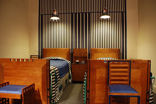 Bedroom furniture by Charles Rennie Mackintosh, via Wikimedia Commons