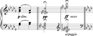 Diminished seventh chord -  Beethoven Appassionata Sonata 3 final bars of Andante
