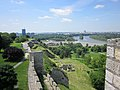 "Belgrade (Београд). ""Meeting of the waters"", brown Sava river and blue Danube, seen from the citadel. - panoramio.jpg"