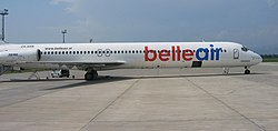 Belle Air McDonnell Douglas MD-82 (ZA-ARB) parked at Tirana International Airport.jpg