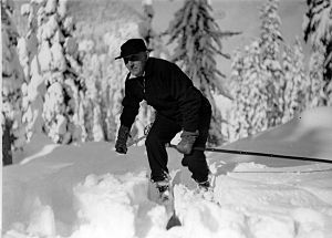 Snoqualmie Pass - Ben Evans, Director of Playfields of the Seattle Parks Department, skiing at Snoqualmie Pass, 1935. For five years in the 1930s, the department operated a ski park at the Pass, about 54 miles (87 km) from the city.
