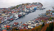 View of Vågen and Nordnes from Fløyen.