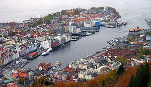 Nordnes - View of Nordnes (left) and Vågen from Fløyen