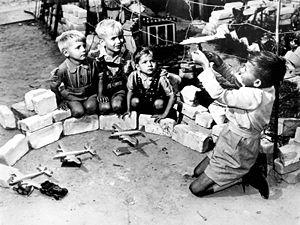 Raisin Bombers - Berlin children playing airlift game, c. 1948/49