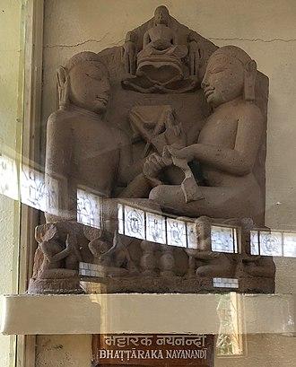 Bhattaraka - Bhattaraka Nayanadi, Khajuraho sculpture, 11th ent.,  Jain Museum