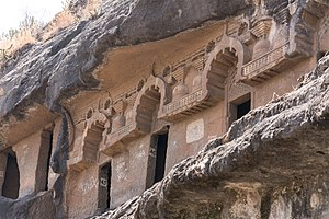 Manmodi caves - The Buddhist cells with individual Chaitya-window arches.