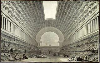 Vue intérieure de la nouvelle salle projetée pour l'agrandissement de la bibliothèque du Roi