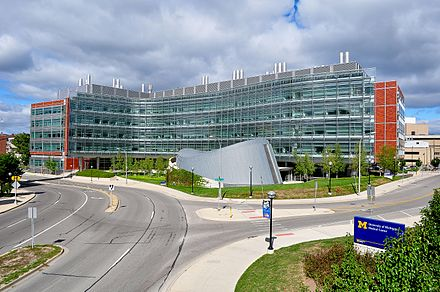 Biomedical Science Research Building at the UM Medical School supports the Michigan Life Sciences Corridor. Biomedical Science Research 2010.jpg
