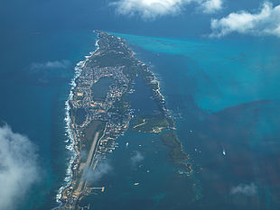 Aerial view of southern portion of Isla Mujeres
