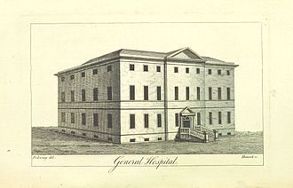 Birmingham General Hospital -  Drawing from William Hutton's 1809 book An history of Birmingham, showing the original building
