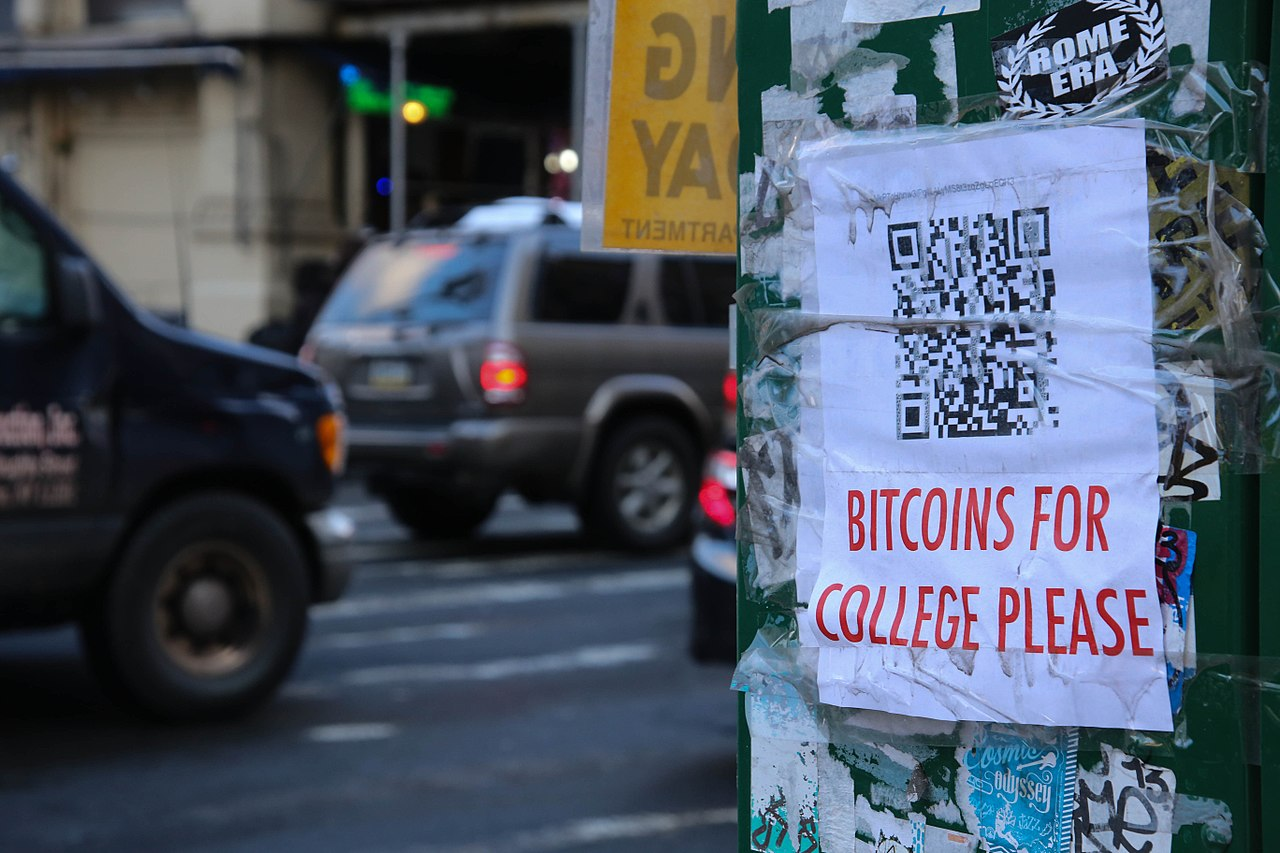 Bitcoins for College Please (12669197735).jpg