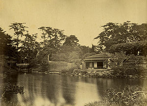 Hamarikyu Gardens - in 1863, photo by Felice Beato