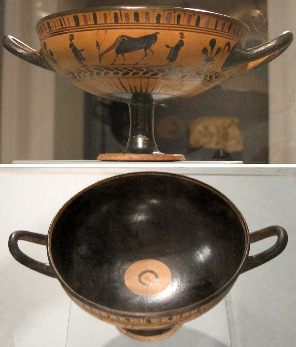 Black-figure terracotta kylix (wine cup), Greece. late 6th century BCE, Honolulu Academy of Arts