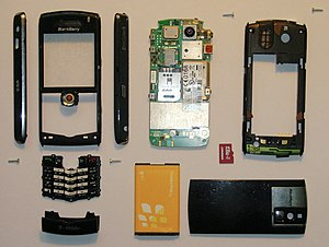BlackBerry Pearl - Disassembled BlackBerry Pearl revealing the hardware inside