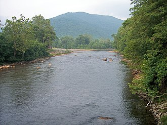 Black Fork (Cheat River tributary) - The Black Fork at Hendricks, West Virginia looking upstream. The confluence of the Blackwater River (left) and the Dry Fork (right) is visible.