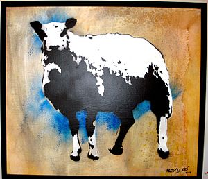 "Blek le Rat - ""Sheep"" by Blek le Rat at Subliminal Projects Gallery, Los Angeles"