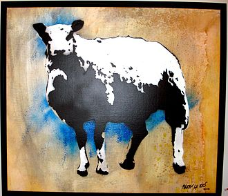 """Blek le Rat - """"Sheep"""" by Blek le Rat at Subliminal Projects Gallery, Los Angeles"""