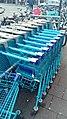 Blue Albert Heijn shopping carts at the Albert Heijn Sumatrastraat, The Hague (2019) 01.jpg